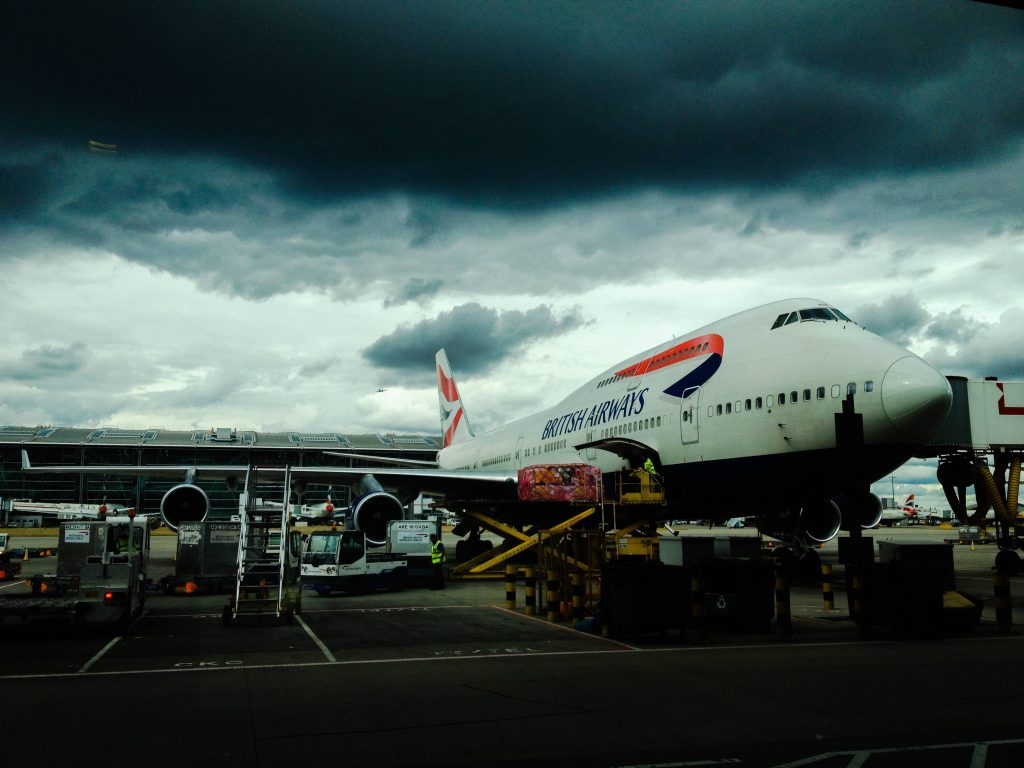 A British Airways jet on the tarmac at an airport