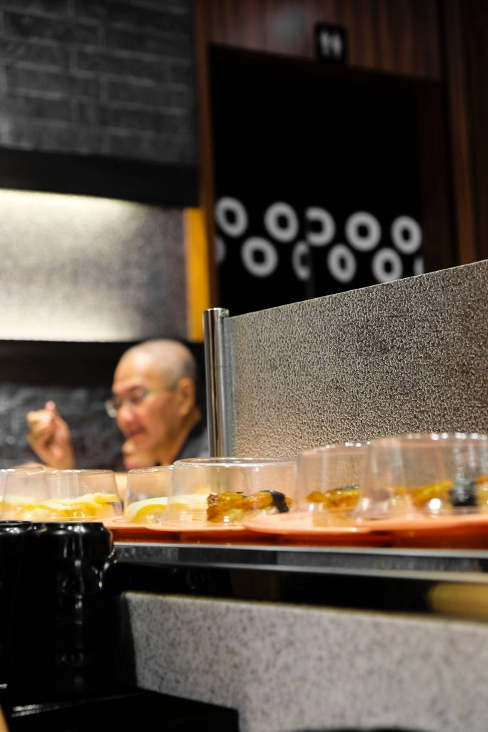 Sushi on a conveyor belt