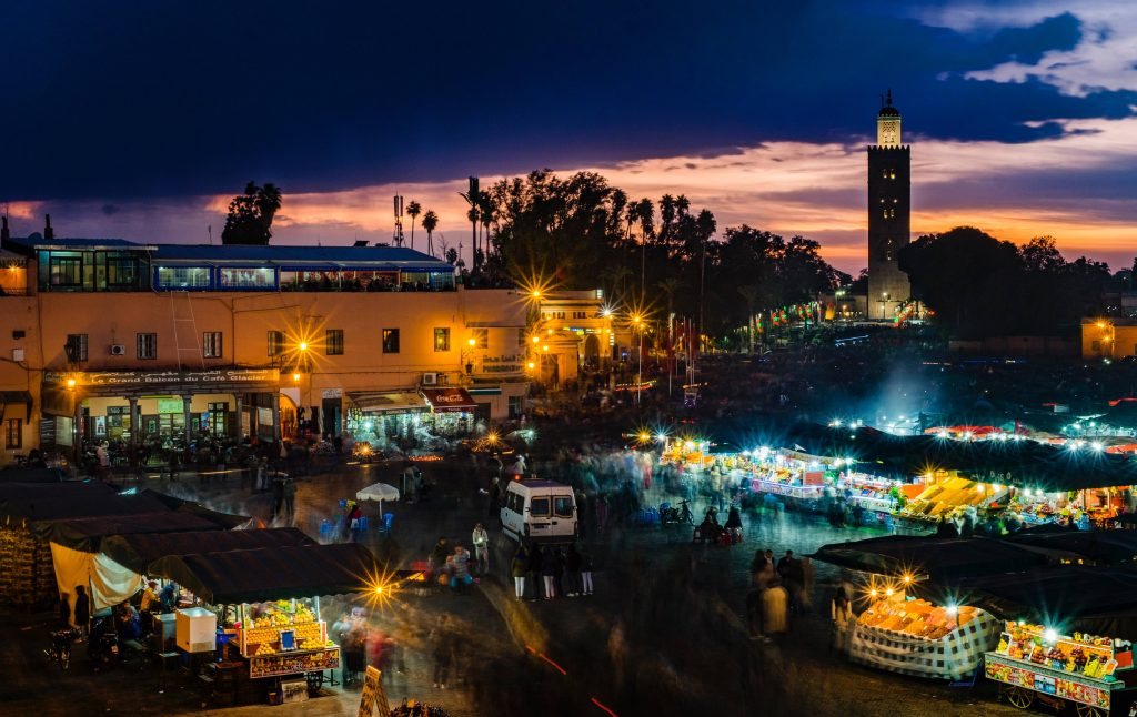 A night-time view of Marrakesh