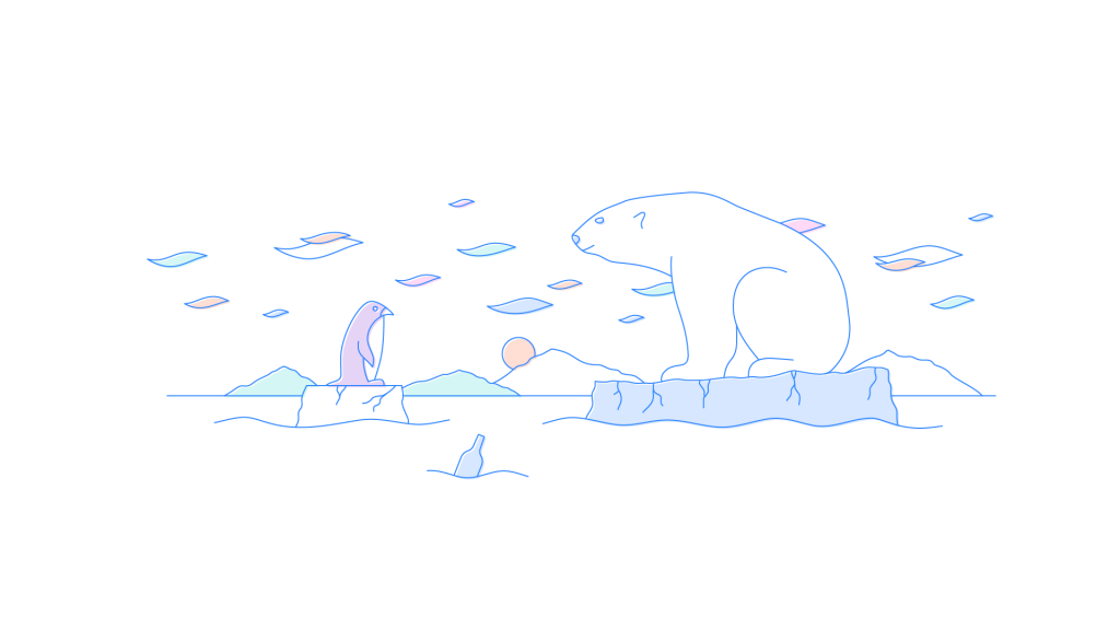 A polar bear floating on a piece of ice looks at a penguin floating on another